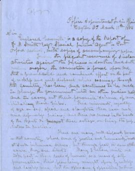 Handwritten copy of letter from the office of Superintendent of Indian Affairs