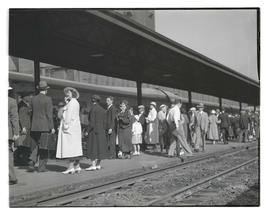 Crowd on train platform at Union Station, Portland
