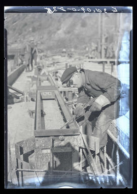 Oak Grove project, welder working at powerhouse