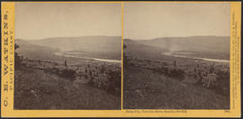 """Dalles City, Columbia River, from Sun Set Hill."" (Stereograph 1306)"
