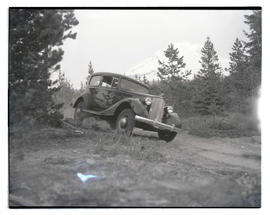 Car on dirt road south of Mount Hood