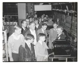 Boys on tour of telephone company?