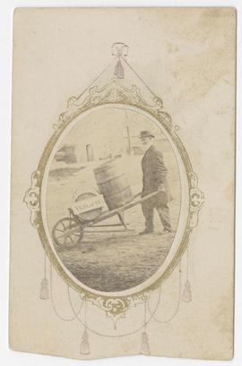 W. J. Angell portrait of unidentified man with wheelbarrow