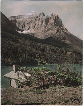 """Sun chalet"" and Chief Mountain, St. Mary's Lake, Glacier National Park"