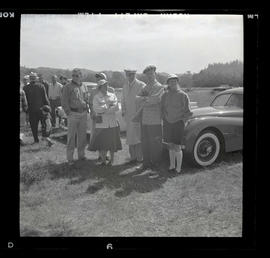Group of people at auto races in Tillamook, June 1955