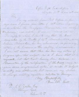 Letter from Joel Palmer to John L. Zeiber, Surveyor General