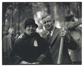Mrs. V. A. Manning and son Cyril G. Manning at groundbreaking ceremony for veterans hospital on M...