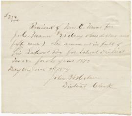 Receipt from District Clerk for school tax 1873