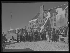Skiers outside Timberline Lodge