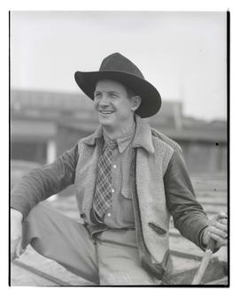 Vane Haleman?, three-quarters portrait, probably at Pacific International Livestock Exposition