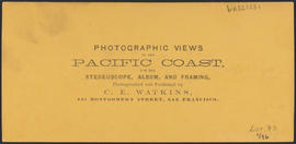 "Verso of, ""Castle Rock, Columbia River."" (Stereograph 1248)"