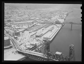 Aerial view of Willamette River and bridges, Portland