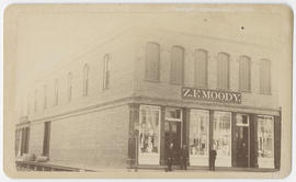 "Four unidentified men in front of store ""Z. F. Moody,"" The Dalles, Oregon"