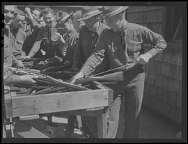 Soldiers cleaning rifles at Fort Vancouver