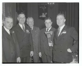 Arthur L. Fields, Zina A. Wise, and three unidentified men at microphone during Portland Breakfas...