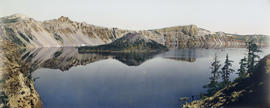 Hand-colored panorama of Crater Lake, Oregon
