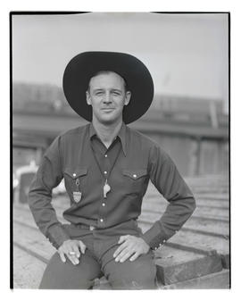 Doff Aber, three-quarters portrait, probably at Pacific International Livestock Exposition