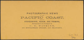 "Verso of, ""Castle Rock, Columbia River."" (Stereograph 1246)"