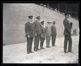 Portland Police Chief Leon V. Jenkins, Mayor George L. Baker, and three unidentified men at Multn...