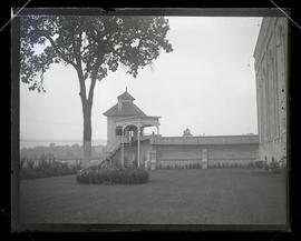 View of tower, wall and lawn at Oregon State Penitentiary, Salem
