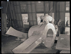 Chiseling steel-cast components at Columbia Steel Casting Company