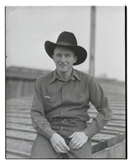 Whitey Hoffman, three-quarters portrait, probably at Pacific International Livestock Exposition