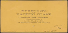 "Verso of, ""Moonlight on the Columbia, from the O.R.R. Cascades."" (Stereograph 1287)"
