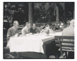Diners at luncheon in honor of officers of USS Constitution, Laurelhurst Park, Portland