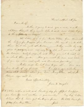 Letter from Josie B. Wright to Sarah Ann Palmer