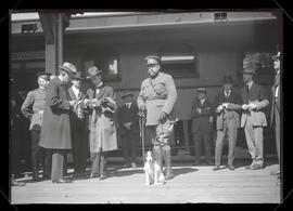 Members of Belgian mission and trench dog Nellie at North Bank station, Portland