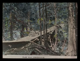 Plank road over trestle bridge