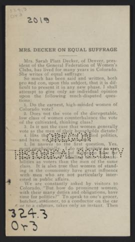 Mrs. Decker on Equal Suffrage