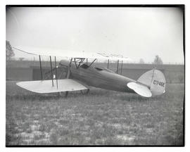 Biplane at airfield