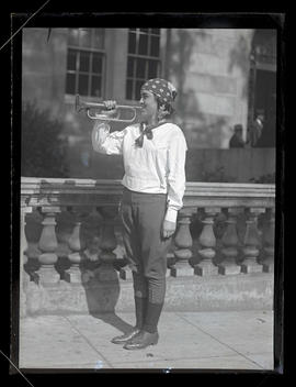 Bugler outside central library, Portland