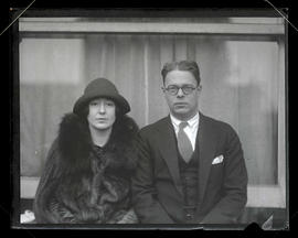 Unidentified woman and man, seated, half-length portrait
