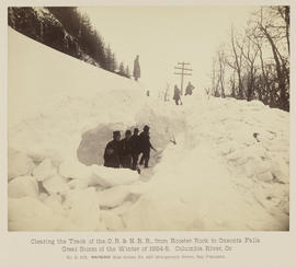 """D.103. Clearing the Track of the O.R. & N.R.R., from Rooster Rock to Oneonta Falls."""