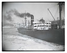 Unidentified ship in ice-covered waters