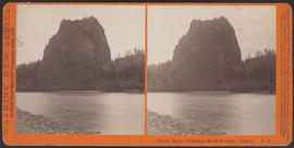 """Castle Rock, Columbia River Scenery, Oregon (Stereograph E44)"