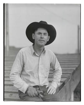 Jim Massie, three-quarters portrait, probably at Pacific International Livestock Exposition