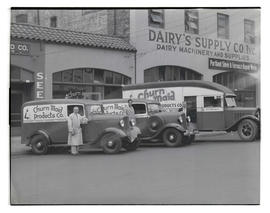 Three men with Churn Maid Products Co. trucks on Southeast Union Avenue?, Portland