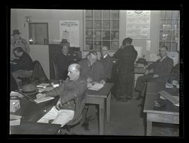 Employees in time office, Albina Engine & Machine Works, Portland