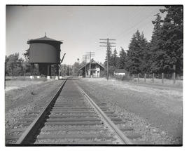 Railroad, water tower, and station