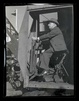 Albina Engine & Machine Works president George Rodgers in crane operator's seat