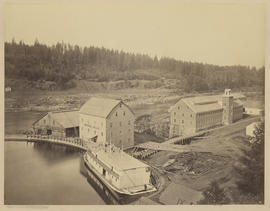 """Flour and Woolen Mills, Oregon City from Upper Basin."" (Mammoth 415)"