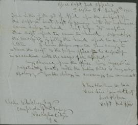 Draft letter to Elisha Whittlesey, Comptroller of the Treasury