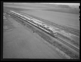 "Aerial view of General Motors ""Train of Tomorrow"" between Salem and Gervais"