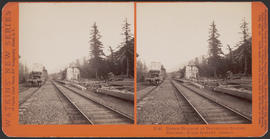 """Bridge Building at Bonneville Station, Columbia River Scenery, Oregon"" (Stereograph E46)"