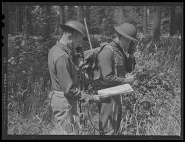 Soldiers using field telephone at Vancouver Barracks