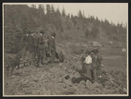 Railroad Construction Crew & Homesteaders near Carson, Washington