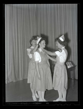 Red Cross nurses' aide receiving pin and cap at Marylhurst College, 1944